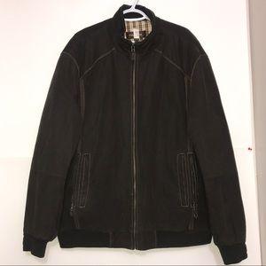 Danier Chocolate Brown Suede Leather Zip Up Jacket